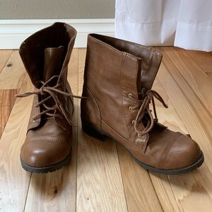 Soda faux brown leather lace up boots